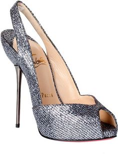 ShopStyle by POPSUGAR: Christian LouboutinBoulimina 120 silver glitter pump