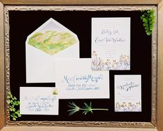 Carolina Bride | Wedding Invitation Suite | copper foil and china blue watercolor | lasercut floral patter | watercolor calligraphy | watercolor landscape envelope liner | Sable and Gray Paper Co.