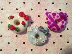 Holiday hello kitty doughnut polymer clay charms
