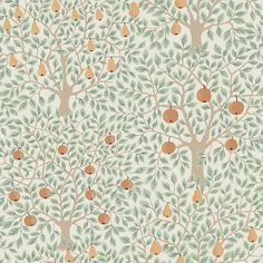 Complete with light green leaves, yellow pears and orange apples, this tree wallpaper is an eclectic delight. Its painterly design and folksy style will add an inviting warmth to rooms. Pomona is an unpasted, non woven wallpaper. Tree Wallpaper, Print Wallpaper, Wallpaper Roll, Cottage Wallpaper, Kitchen Nook Wallpaper, Home Depot Wallpaper, Swedish Wallpaper, Botanical Wallpaper, Wallpaper Designs