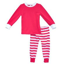 2016 Hot Sale Children Clothing Set Girls Outfits Pajamas Red Striped Christmas Style Soft Cotton Fabric Kids Sleepwear Pp01 BB(China (Mainland))