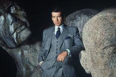 Actor Pierce Brosnan wearing a Brioni Suit