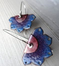 Enameled Lotus Flower Earrings -- Blue, Purple, Aqua Enamel over Copper --