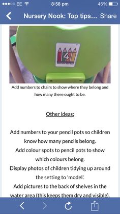 Numbers on chairs