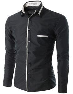 Doublju Men's Button Down Casual Shirt with Placket Detail (CMTSTL09) #doublju
