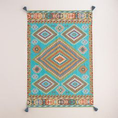 Need to Spruce Up Your Space for Fall? Check out our Blue Odina Kilim Flatweave Indoor-Outdoor Rug from Cost Plus World Market's Desert Caravan Collection. >> #WorldMarket Home Decor Ideas, Fall, #SpruceUpYourSpace