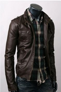 handmade Men Brown Leather Jacket with Free Leather by ukmerchant