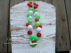 The Grinch Chunky Bubblegum Bead Necklace by LittleDivaBubblegum, $26.00