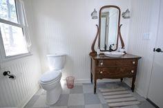 Sink in old dresser in bathroom at my cottage