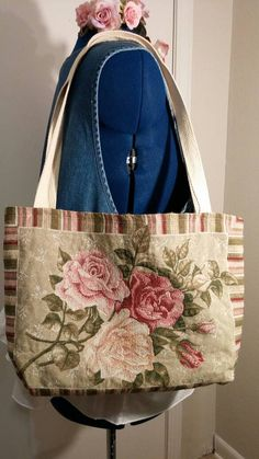 TAPESTRY TOTE BAG Victorian Roses Purse Boho by MissPoppysFancy