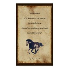 Horse-lovers Parchment-style Poetry Print on Unconditional Love.