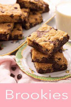 Best Brownies, Fudgy Brownies, Fun Desserts, Delicious Desserts, Dessert Recipes, Cookie Brownie Bars, Buttery Cookies, Brookies, Chocolate Chip Cookies