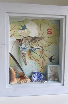 by Julia Mckenzie, illustration, collage, found objects, box frame, print, swallow, nature, drawing, printmaking, collection