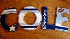 Wooden Dallas Cowboys Letters for nursery or child's room – – Nombres de bebés y ropa de bebé. Diy Letters, Letter A Crafts, Wood Letters, Letter Art, Dallas Cowboys Nursery, Dallas Cowboys Party, Cowboy Nursery, Cowboys Wreath, Cowboy Crafts