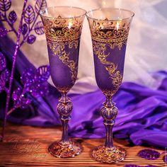Бокалы, стаканы ручной работы. Ярмарка Мастеров - ручная работа. Купить Бокалы шампанские - готика Виолетта. Handmade. Золотой, подарок