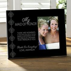 Wedding Party Personalized Photo Frame - Create a lasting keepsake for your bridesmaids with this photo frame customized with your choice of personal sentiments - 5 colors to choose from.  Click for product details  pricing.