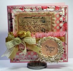 Shabby Chic card with JustRite Stampers by Gini Cagle