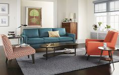 Living - Room & Board - Love the modern flare and the color of the couch.