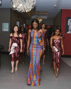 Kente Fabric Designs: See These Kente Styles For Fashionable Ladies - Lab Africa African Bridesmaid Dresses, African Wedding Attire, African Lace Dresses, Latest African Fashion Dresses, African Print Fashion, African Attire, Kente Dress, Ankara Skirt, Kente Styles