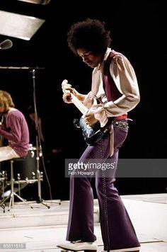 CENTRE Photo of Jimi HENDRIX and JIMI HENDRIX EXPERIENCE Jimi Hendrix performing on 'Happening For Lulu' TV Show