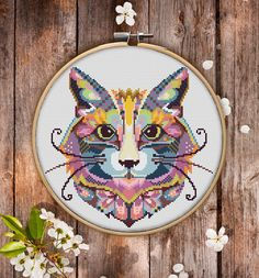 This is modern cross-stitch pattern of Mandala Cat for instant download. You will get 7-pages PDF file, which includes: - main picture for your reference; - colorful scheme for cross-stitch; - list of DMC thread colors (instruction and key section); - list of calculated thread