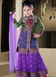 Beautiful Zardosi Lehenga & Jacket for Little #Desi Belles in Purples & other pretty Colors, by http://pinterest.com/indiaemporium/ #Ludhiana, #Punjab @ Rs 4400 ~ $ 81 ~ £ 53