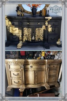 I am enamored if this gold leaf treatment and plan to use it. I am enamored if this gold leaf treatment and plan to use it. Gold Leaf Furniture, Art Deco Furniture, Hand Painted Furniture, Distressed Furniture, Refurbished Furniture, Paint Furniture, Repurposed Furniture, Shabby Chic Furniture, Furniture Makeover