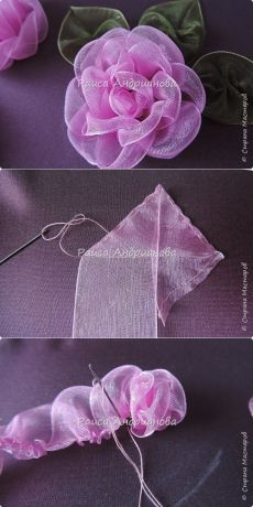 diyideas.ru Nylon Flowers, Tulle Flowers, Felt Flowers, Diy Flowers, Fabric Flowers, Ribbon Crafts, Ribbon Art, Fabric Ribbon, Flower Crafts