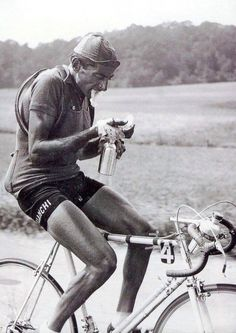 Fausto Coppi. Not sure when or where but I really like this photo.