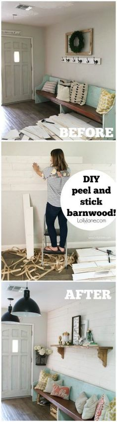 Perfect Loving this DIY peel and stick barnwood wall treatment! Can you believe this real barnwood is so easy to install! The post Loving this DIY peel and stick barnwoo . Home Improvement Projects, Home Projects, Peel And Stick Shiplap, Installing Shiplap, Design Loft, Barn Wood Crafts, Farmhouse Wall Decor, Wall Treatments, Unique Home Decor