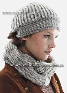 Модная шапочка и шарф спицами 2016-2017 фото и описание