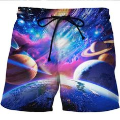 ef7682bdcc Quick Dry Beach Shorts 3D Print Space Galaxy Flash Board Shorts Summer Hip  Hop Style Bermuda Masculina Shorts Fashion Clothing