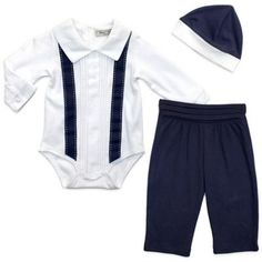 Harry & Violet 3-Piece Lil Gentleman Long-Sleeve Bodysuit, Pant and Hat Set - buybuyBaby.com