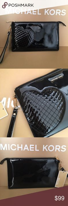 ❤️Michael Kors Heart Clutch ❤️ NwT, Beautiful Black Shiny leather Clutch. Large size, Holds Iphone 6s plus, check books even a small ipads Michael Kors Bags Clutches & Wristlets