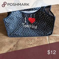 I love teaching 31 tote Gently used tote is a great teachers helper! Blue with gray polka dots. I upgraded and don't need anymore. thirty one Bags Totes