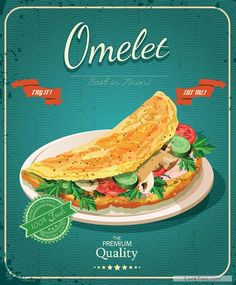 Retro advertising poster omelet food vector 01 free vector download