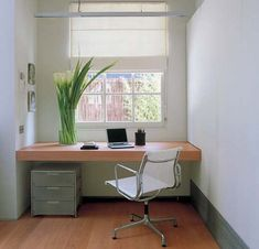DREAM office MINUS those flowers. (minimalist home office concept. via minimalist home office furniture. Minimalist Home Office Furniture, Ikea Home Office, Modern Home Offices, Home Office Chairs, Minimalist Home Interior, Home Office Design, Minimalist Office, Office Designs, Office Walls