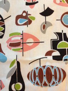 'George Jetson Revisited' print on barkcloth Textile Patterns, Textile Design, Fabric Design, Pattern Design, Print Patterns, Vintage Textiles, Vintage Patterns, Vintage Prints, Modern Patterns