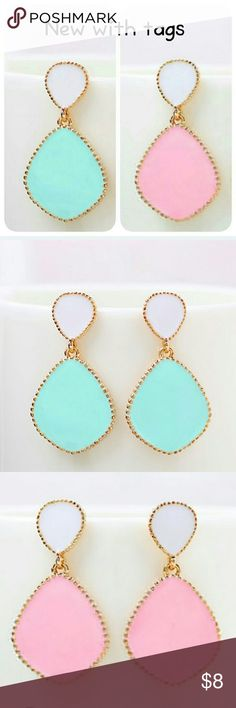 Tiffany Blue Earrings Never used and so classy :) Pink ones are still available at this time just made a separate listing for them in my closet. Jewelry Earrings