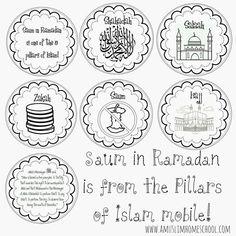 a muslim homeschool: Saum in Ramadan is one of the 5 pillars mobile Eid Crafts, Ramadan Crafts, Ramadan Decorations, Ramadan Tips, 5 Pillars, Pillars Of Islam, Preschool Number Worksheets, Worksheets For Kids, Ramadan Activities