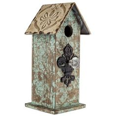 Rustic Blue Birdhouse with Tile Roof & Clear Knob