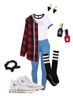 """""""Outfit❤️"""" by lelemer1234 on Polyvore featuring mode, H&M, Forever 21, Converse, NLY Accessories, Vita Fede et Sally Hansen"""