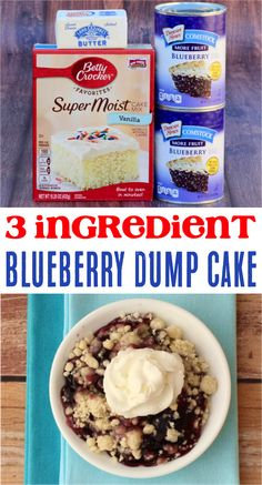 How to Make Blueberry Dump Cake!  This yummy dessert takes only 3 simple ingredients, and is the perfect end to your summer meals! Blueberry Dump Cakes, Apple Dump Cakes, Blueberry Cobbler, Easy Cheap Desserts, Easy No Bake Desserts, Popular Recipes, Easy Recipes, Dump Recipes, Cake Mix Recipes