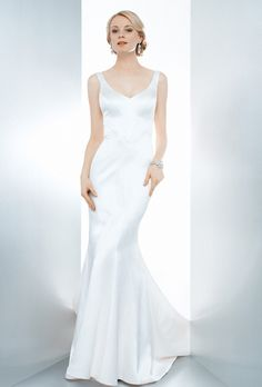 c9ba8b20da37 Brides  Matty Matthew Christopher. A flattering silk charmeuse V-neck gown