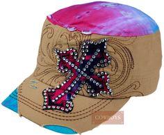 Boné Feminino Cruz Estilo Boina Boné feminino colorido importado tecido  100% algodão. Bordado na 47318849de9