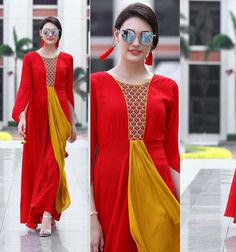 Pretty Outfits, Stylish Outfits, Fashion Outfits, Western Dresses, Indian Dresses, Pakistani Outfits, Indian Outfits, Cotton Gowns, Anamika Khanna