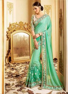 Wide range of saree available online. Buy this Sea Green Embroidery Patch Border Work Georgette Lustrous Designer Bridal Wedding Partywear Saree With Designer Blouse. Buy Designer Sarees Online, Indian Designer Sarees, Latest Designer Sarees, Indian Sarees Online, Wedding Sarees Online, Saree Wedding, Wedding Wear, Bridal Sarees, Wedding Dresses