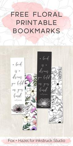 Free Floral Printable Bookmarks - Fox + Hazel for Inkstruck Studio