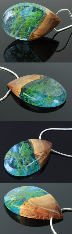 Ocean inspired wood and resin necklace.  Handmade jewelry by WoodAllGood. #WoodAllGood