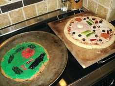 Edible Animal Cell Pizza and Plant Cell Cookie